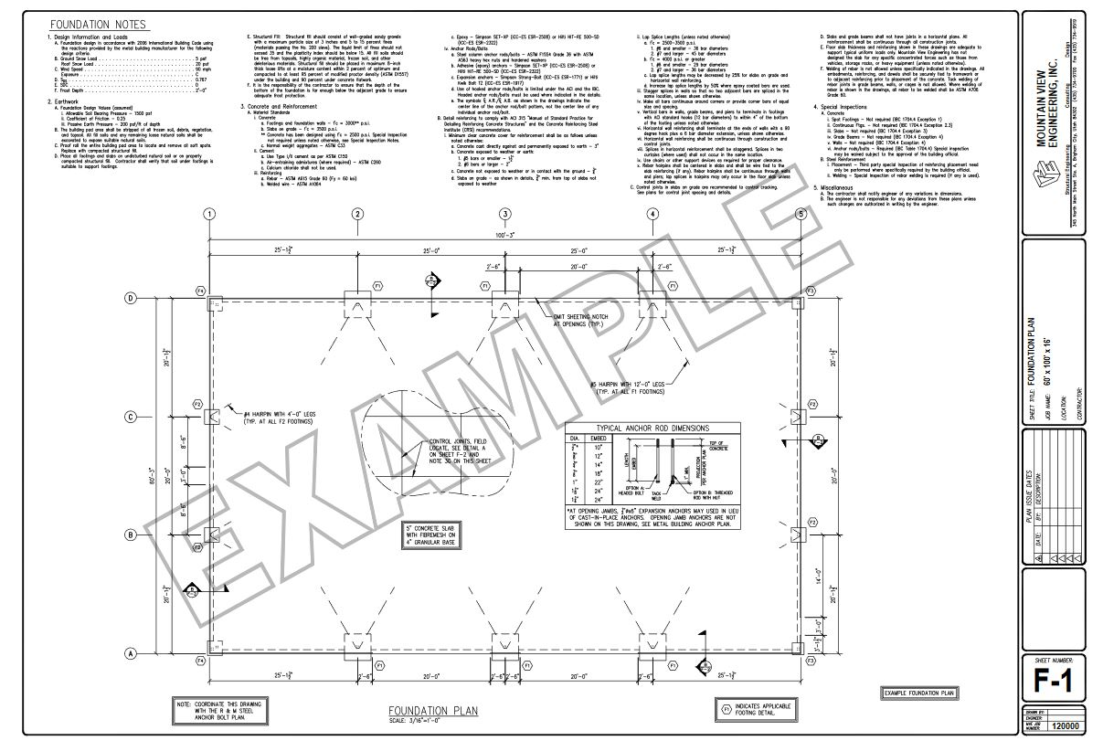R & M Steel | Metal Building Foundation Design Example